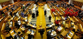 Parliamentary officials prepare the chamber for voting prior to an unsuccessful vote of no-confidence against President Jacob Zuma on August 8, 2017 in the South African National Assembly in Cape Town. South Africa President Jacob Zuma on August 8 survived a parliamentary vote of no confidence, as ruling ANC party lawmakers stuck by their leader despite growing divisions and fierce criticism of his rule. Baleka Mbete, the Speaker of parliament, announced that the motion had been defeated, with 177 votes supporting and 198 votes against it. / AFP PHOTO / POOL / MARK WESSELS        (Photo credit should read MARK WESSELS/AFP/Getty Images)