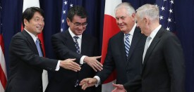 WASHINGTON, DC - AUGUST 17:  Secretary of State Rex Tillerson (2ndR), Defense Secretary James Mattis (R), shake hands with Japanese Foreign Minister Taro Kono (2ndL) and Defense Minister Itsunori Onodera (L), during a meeting of the U.S.-Japan Security Consultative Committee at the State Department, on August 17, 2017 in Washington, DC.  (Photo by Mark Wilson/Getty Images)