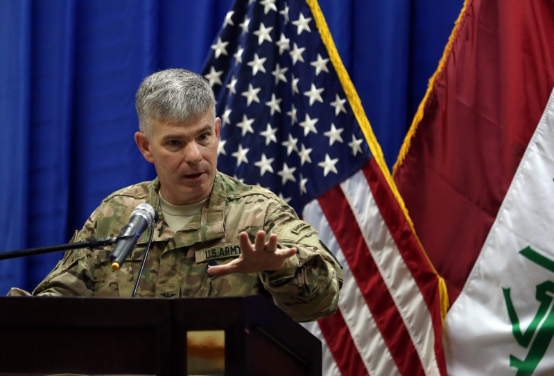 BAGHDAD, IRAQ - OCTOBER 1: Col. Steve Warren, the new spokesman for the US-led coalition in Iraq, speaks during an introduction of Let. Gen. Sean MacFarland s the new commander General of the US led coalition in Iraq on October 1, 2015 in Baghdad, Iraq. MacFarland is a three-star general in the United States Army. (Photo by Khalid Mohammed-Pool/Getty Images)