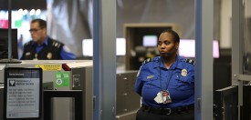 FORT LAUDERDALE, FL - MARCH 14:  TSA agents work at the security checkpoint as Rep. Debbie Wasserman Schultz (D-FL) addressed the media about, 'President Trump's budget crisis', at the Fort Lauderdale-Hollywood International airport on March 14, 2017 in Fort Lauderdale, Florida. The congresswoman  criticized the proposed cuts to the TSA, FEMA, and NOAA as well as the changes to the Affordable Care Act.  (Photo by Joe Raedle/Getty Images)