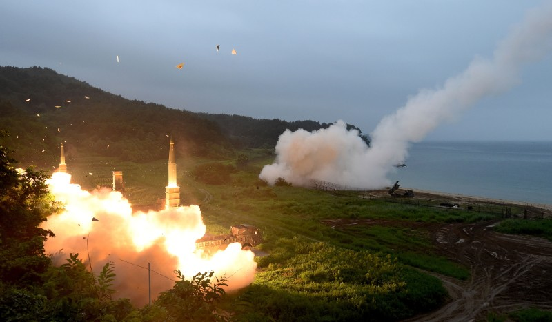 EAST COAST, SOUTH KOREA - JULY 29:  In this handout photo released by the South Korean Defense Ministry, U.S. Army Tactical Missile System (ATACMS) and South Korea's missile system firing Hyunmu-2  firing a missile into the East Sea during a South Korea-U.S. joint missile drill aimed to counter North Korea¡¯s ICBM test on July 29, 2017 in East Coast, South Korea. North Korea launched another test missile, believed to be an Inter Continental Ballistic Missile (ICBM), which travelled 45 minutes before splashing down in the Exclusive Economic Zone (EEZ) of Japan. (Photo by South Korean Defense Ministry via Getty Images)