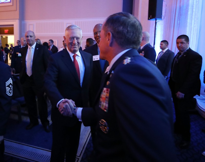 NATIONAL HARBOR, MD - SEPhTEMBER 20:  Secretary of Defense Jim Mattis (L), shakes hands with Air Force Chief of Staff, Gen. David L. Goldfein before delivering the keynote address at the Air Force Association 2017 Air, Space and Cyber Conference, at the Gaylord National Resort and Convention Center on September 20, 2017 in National Harbor, Maryland.  (Photo by Mark Wilson/Getty Images)