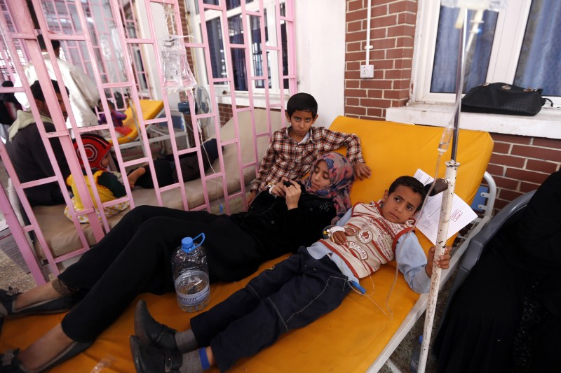 Yemeni children suspected of being infected with cholera receive treatment at a hospital in the capital Sanaa, on August 12, 2017. A cholera outbreak has claimed the lives of some 2,000 Yemenis in less than four months. / AFP PHOTO / Mohammed HUWAIS        (Photo credit should read MOHAMMED HUWAIS/AFP/Getty Images)