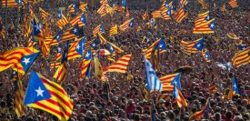BARCELONA, SPAIN - SEPTEMBER 11:  Demonstrators march during a Pro-Independence demonstration as part of the celebrations of the National Day of Catalonia on September 11, 2014 in Barcelona, Spain. Thousands of Catalans celebrating the 'Diada de Catalunya', are using it as an opportunity to hold demonstrations to demand the right to hold a self-determination referendum next November.  (Photo by David Ramos/Getty Images)