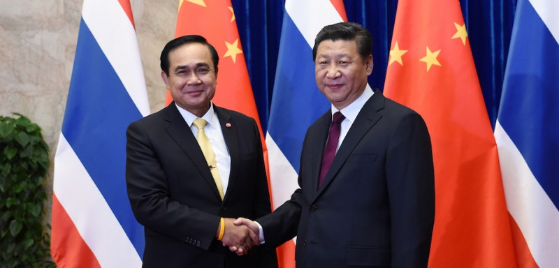 Thai Prime Minister Prayut Chan-o-cha meets with Chinese President Xi Jinping in Beijing in 2014.