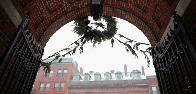 CAMBRIDGE, MA - JANUARY 27: Snow falls in Harvard Yard on January 27, 2015 in Cambridge, Massachusetts. Boston, and much of the Northeast, is being hit with heavy snow from Winter Storm Juno. (Photo by Maddie Meyer/Getty Images)