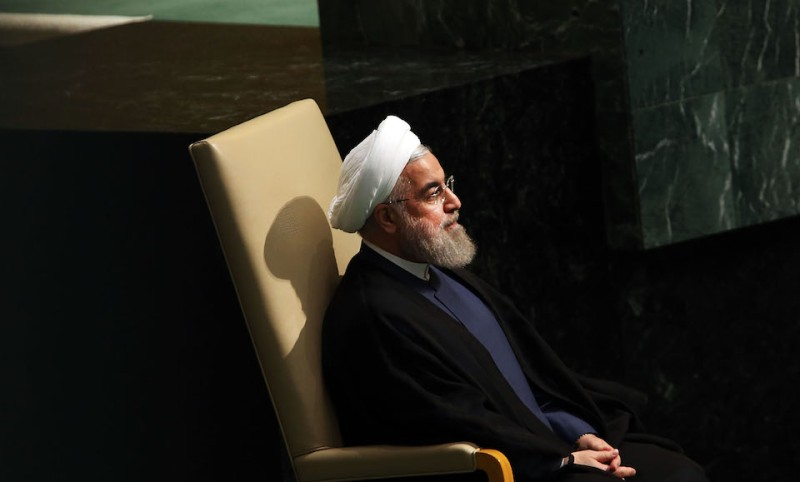 NEW YORK, NY - SEPTEMBER 28: Iran President Hassan Rouhani sits before addressing the United Nations General Assembly at U.N. headquarters on September 28, 2015 in New York City. The ongoing war in Syria and the refugee crisis it has spawned are playing a backdrop to this years 70th annual General Assembly meeting of global leaders.  (Photo by Spencer Platt/Getty Images)