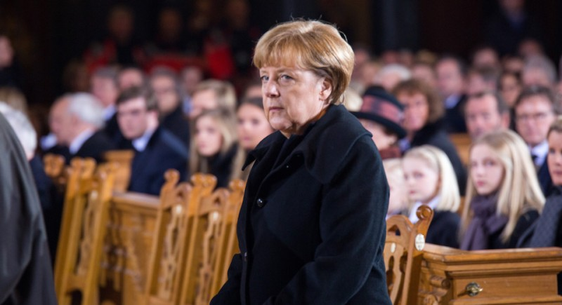 BERLIN, GERMANY - JANUARY 24: German Chancellor Angela Merkel attends the state funeral of the late former German President Roman Herzog at the Dom Cathedral on January 24, 2017 in Berlin.  Roman Herzog, who died at the age of 82 on January 10, 2017, served as German president from 1994 to 1999. (Photo by Max Menning-Pool/Getty Images)
