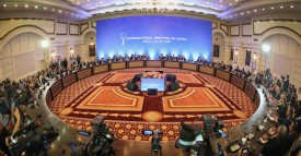 """A picture shows a general view during a fifth round of Syria peace talks on July 5, 2017, in Astana. Powerbrokers Russia, Iran and Turkey struggled on July 5 to hammer out details on a plan for safe zones in Syria at a fifth round of peace talks in the Kazakh capital. Moscow and Tehran, which back Syrian President Bashar al-Assad, and rebel supporter Ankara agreed in May to establish four """"de-escalation"""" zones in a potential breakthrough towards calming a war that has claimed an estimated 320,000 lives since March 2011. / AFP PHOTO / STANISLAV FILIPPOV        (Photo credit should read STANISLAV FILIPPOV/AFP/Getty Images)"""