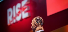 """Han the Robot"" waits on stage before a discussion about the future of humanity in a demonstration of artificial intelligence (AI) by Hanson Robotics at the RISE Technology Conference in Hong Kong on July 12, 2017. Artificial intelligence is the dominant theme at this year's sprawling RISE tech conference at the city's harbourfront convention centre, but the live robot exchange took the AI debate to another level. / AFP PHOTO / ISAAC LAWRENCE        (Photo credit should read ISAAC LAWRENCE/AFP/Getty Images)"