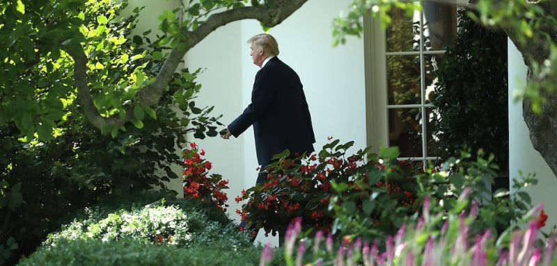 WASHINGTON, DC - AUGUST 03:  U.S. President Donald Trump departs the White House on his way to West Virginia on August 3, 2017 in Washington, DC. A grand jury has been impaneled by Speical Counsel Robert Mueller in the investigation into Russian interference in the 2016 presidential election.  (Photo by Win McNamee/Getty Images)