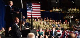 "US President Donald Trump speaks during his address to the nation from Joint Base Myer-Henderson Hall in Arlington, Virginia, on August 21, 2017. Trump warned Monday that the Afghan government should not view US support as a ""blank check,"" in an address to the nation on the 16-year conflict. ""America will work with the Afghan government as long as we see determination and progress,"" Trump said.   / AFP PHOTO / Nicholas Kamm        (Photo credit should read NICHOLAS KAMM/AFP/Getty Images)"