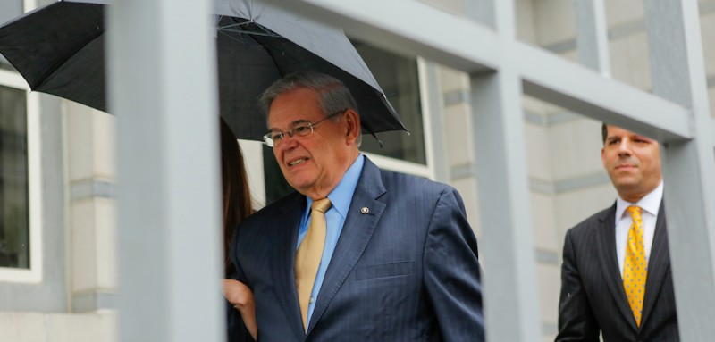 NEWARK, NJ - SEPTEMBER 06:  U.S. Sen. Robert Menendez (D-NJ) (L) exits federal court on the first day of his trial on corruption charges on September 6, 2017 in Newark, New Jersey. Menendez is accused of accepting bribes in regard to his relationship with campaign donor Salomon Melgen, a Florida-based ophthalmologist. (Photo by Eduardo Munoz Alvarez/Getty Images)