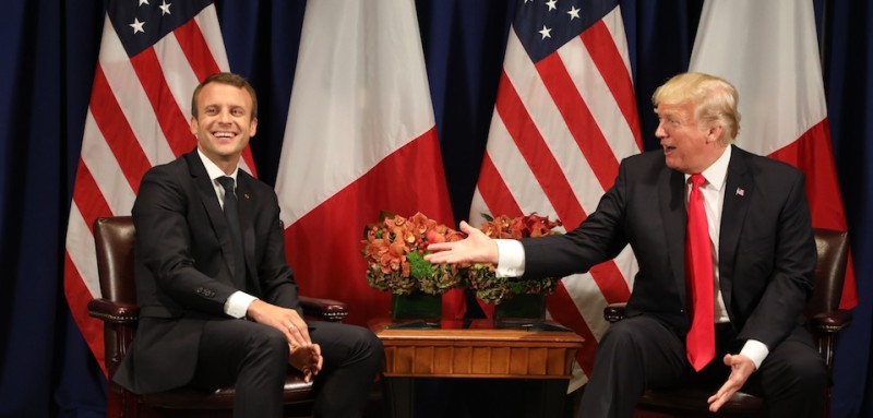 France's president Emmanuel Macron (L) laughs with US President Donald Trump before a meeting at the Palace Hotel during the 72nd session of the United Nations General Assembly on September 18, 2017, in New York. / AFP PHOTO / ludovic MARIN        (Photo credit should read LUDOVIC MARIN/AFP/Getty Images)