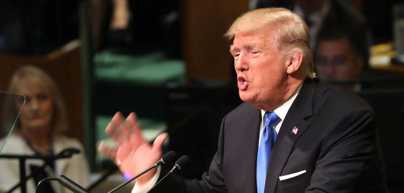 NEW YORK, NY - SEPTEMBER 19:  President Donald Trump speaks to world leaders at the 72nd United Nations (UN) General Assembly at UN headquarters in New York on September 19, 2017 in New York City. This is Trump's first appearance at the General Assembly where he addressed threats from Iran and North Korea among other global concerns.  (Photo by Spencer Platt/Getty Images)