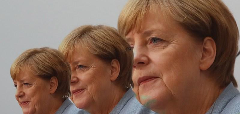 Multiple exposures of German Chancellor Angela Merkel in Berlin on Sept. 25, 2017.  (Photo by Alexander Hassenstein/Getty Images)