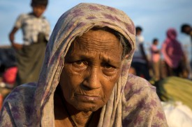 THAINKHALI, BANGLADESH - SEPTEMBER 25: Mayina Khatun, 80, suffers from depression and fatigue from her difficult journey from Myanmar one week ago September 25, 2017 in Thainkhali camp, Cox's Bazar, Bangladesh. Over 429,000 Rohingya refugees have fled into Bangladesh since late August during the outbreak of violence in Rakhine state as Myanmar's de facto leader Aung San Suu Kyi downplayed the crisis during a speech in Myanmar this week faces and defended the security forces while criticism on her handling of the Rohingya crisis grows. Bangladesh's prime minister, Sheikh Hasina, spoke at the United Nations General Assembly last week, focusing on the humanitarian challenges of hosting the minority Muslim group who currently lack food, medical services, and toilets, while new satellite images from Myanmar's Rakhine state continue to show smoke rising from Rohingya villages.  (Photo by Paula Bronstein/Getty Images)