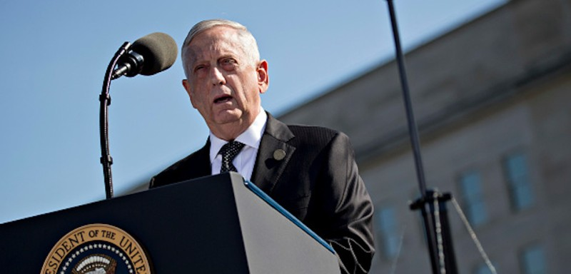 WASHINGTON, DC - SEPTEMBER 11:  U.S. Defense Secretary Jim Mattis speaks at a ceremony to commemorate the September 11, 2001 terrorist attacks at the Pentagon September 11, 2017 in Washington, D.C. U.S. President Donald Trump was presiding over his first 9/11 commemoration on the 16th anniversary of the terrorist attacks that killed nearly 3,000 people when hijackers flew commercial airplanes into New York's World Trade Center, the Pentagon and a field near Shanksville, Pennsylvania.  (Photo by Andrew Harrer-Pool/Getty Images)
