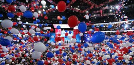 TAMPA, FL - AUGUST 30:  Balloons drop as Republican presidential candidate, former Massachusetts Gov. Mitt Romney and Republican vice presidential candidate, U.S. Rep. Paul Ryan (R-WI) take the stage after accepting the nomination during the final day of the Republican National Convention at the Tampa Bay Times Forum on August 30, 2012 in Tampa, Florida. Former Massachusetts Gov. Mitt Romney was nominated as the Republican presidential candidate during the RNC which will conclude today.  (Photo by Mark Wilson/Getty Images)