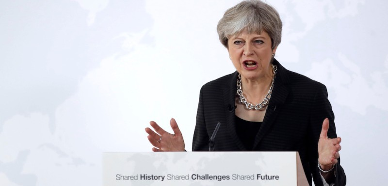 British Prime Minister Theresa May speaks on September 22, 2017, in Florence, as she delivers speech aimed at unlocking Brexit talks. May seeked to unlock Brexit talks on September 22 with a major speech in Florence, after Brussels demanded more clarity on the crunch issues of budget payments and EU citizens' rights. A fourth round of negotiations with the European Commission is due to start next week, with London keen to make progress on the terms of the divorce so that talks can move on to trade. / AFP PHOTO / POOL / ALESSANDRA TARANTINO        (Photo credit should read ALESSANDRA TARANTINO/AFP/Getty Images)