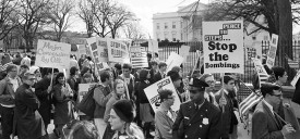 WASHINGTON, :  American youths stage a rally 30 November 1965 in front of the White House in Washington, D.C. protesting United States military involvement in the Vietnam war. (Photo credit should read AFP/AFP/Getty Images)