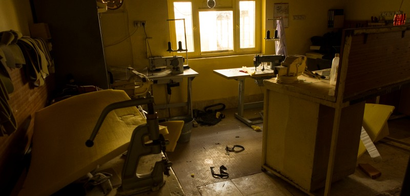 The tailor's room, where Lorena Enebral Perez fell to the ground after being shot in the room's doorway. After being cleaned of Perez' blood, the room has been unused since the September 11 shooting death of International Committee of the Red Cross (ICRC) physiotherapist Lorena Enebral Perez (38), at the Mazar-i Sharif ICRC Orthopaedic Centre, which caters for the rehabilitation of Afghans with severe physical disabilities like amputations and paraplegia as well as those suffering from congenital diseases with physical side-effects like polio and cerebral palsy. Enebral Perez was shot by a patient who had had his polio treated at the orthopaedic centre for 19 years. The motive for the killing is still unclear. The orthopaedic centre closed in the days that followed the death. Passive security upgrades are being implemented and ICRC hopes to reopen soon.