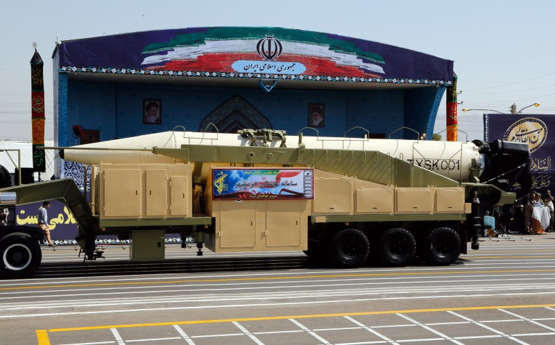 The new Iranian long range missile Khoramshahr on  display during a military parade on September 22, 2017. (STR/AFP/Getty Images)