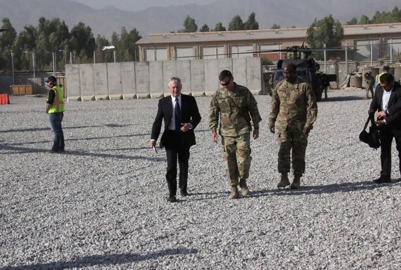 U.S. Defense Secretary Jim Mattis arrives at Forward Operating Base Gamberi east of Kabul.  Thomas Watkins AFP/Getty Images