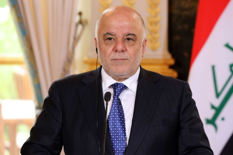 Iraqi Prime Minister Haider al-Abadi gives a press conference at the Elysee Palace in Paris on Oct. 5. (Ludovic Marin/AFP/Getty Images)