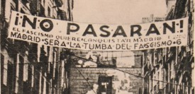 An antifascist banner during the siege of Madrid. (Wikimedia Commons)