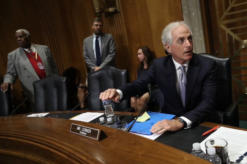 Sen. Bob Corker (R-TN), chairman of the Senate Foreign Relations Committee, arrives for the start of a hearing after speaking with reporters about U.S. President Donald Trump on Oct. 24, 2017 in Washington, DC. (Win McNamee/Getty Images)
