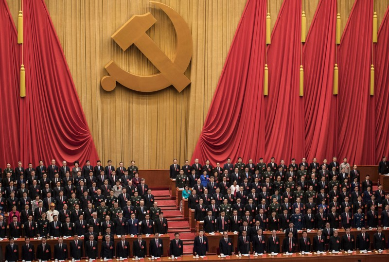 China's President Xi Jinping delivers a speech at the opening session of the Chinese Communist Party's Congress at the Great Hall of the People in Beijing on Oct. 18.  (Nicolas Asfouri/AFP/Getty Images)
