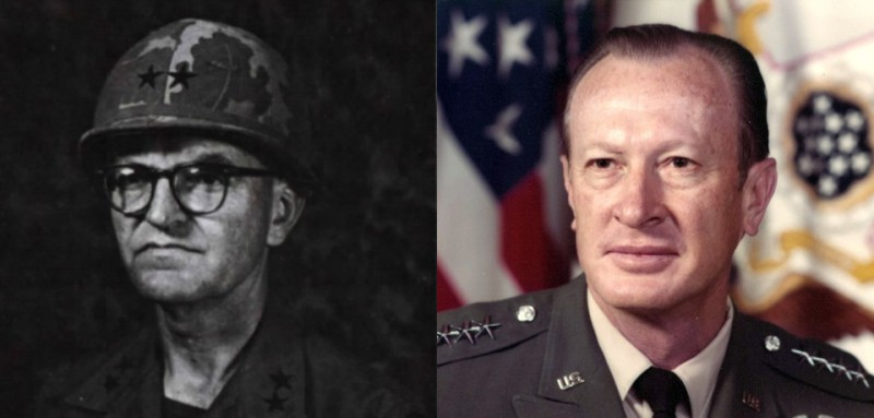Left: Major General Julian Ewell in 1968. (Octofoil magazine); Right: General Frederick Weyand. (United States Army)