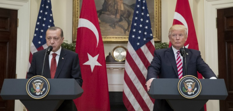 U.S. President Donald Trump and Turkish President Recep Tayyip Erdogan deliver joint statements at the White House on May 16, 2017.