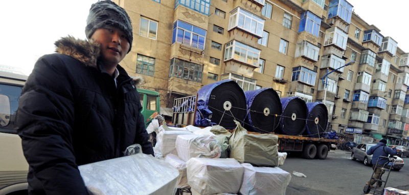 A Chinese trader prepares goods headed to North Korea on Dec. 30, 2011. (Mark Ralston/AFP/Getty Images)