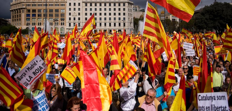 Anti-separatist Catalans at a protest in Barcelona on Spain's National Day in 2012. (David Ramos/Getty Images)