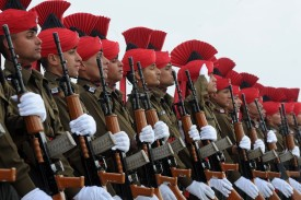 Indian military recruits during a parade near Srinagar, India, on March 4, 2015. (Rouf Bhat/AFP/Getty Images)
