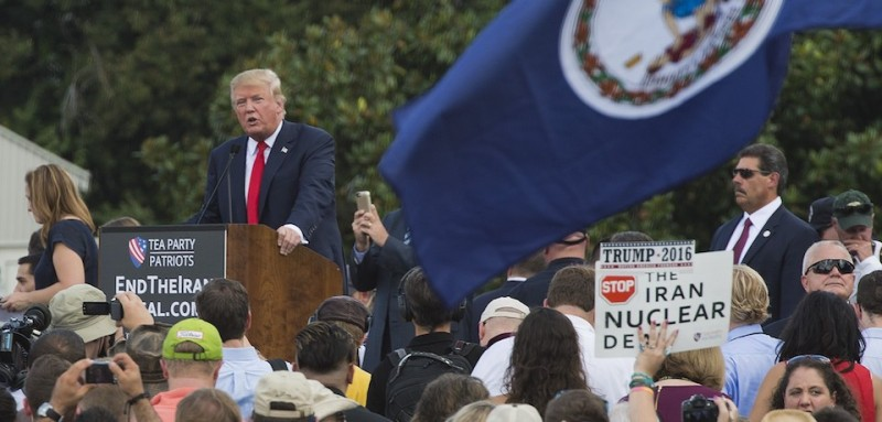 Donald Trump speaks at a rally against the Iran nuclear deal on Sept. 9, 2015. (Andrew Caballero-Reynolds/AFP/Getty Images)