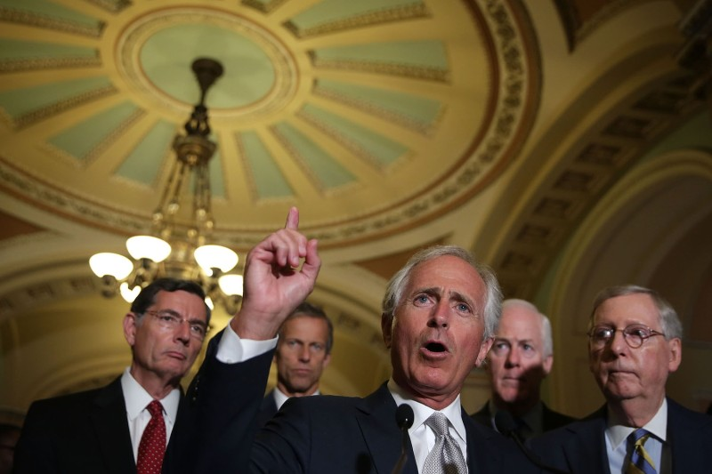 Senator Bob Corker speaks to the press on Sep. 9, 2015. (Alex Wong/Getty Images)
