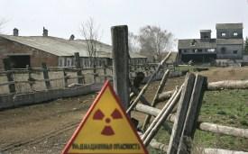 A nuclear danger sign near the Belarusian village of Dronki. (Viktor Drachev/AFP/Getty Images)