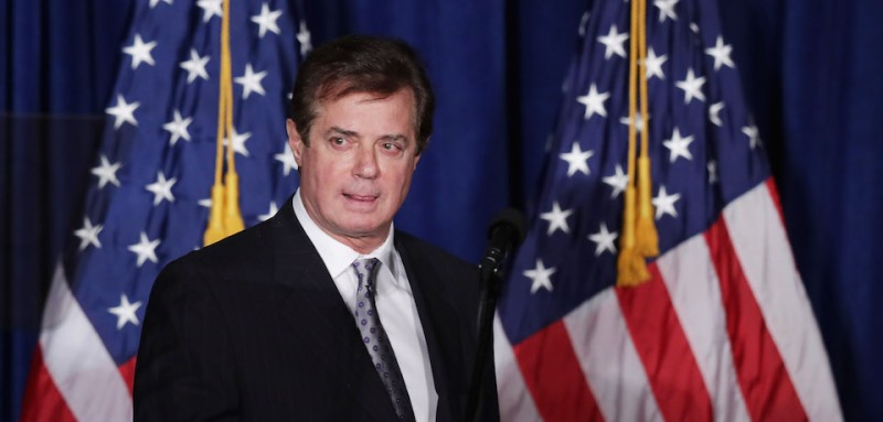 Then-campaign manager Paul Manafort checks the teleprompters before Donald Trump's 2016 campaign speech at the Mayflower Hotel in Washington, DC.