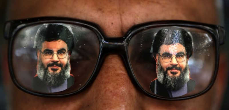 Souvenir glasses with an image of Hezbollah leader Hassan Nasrallah in Beirut, Lebanon. (Patrick Baz/AFP/Getty Images)