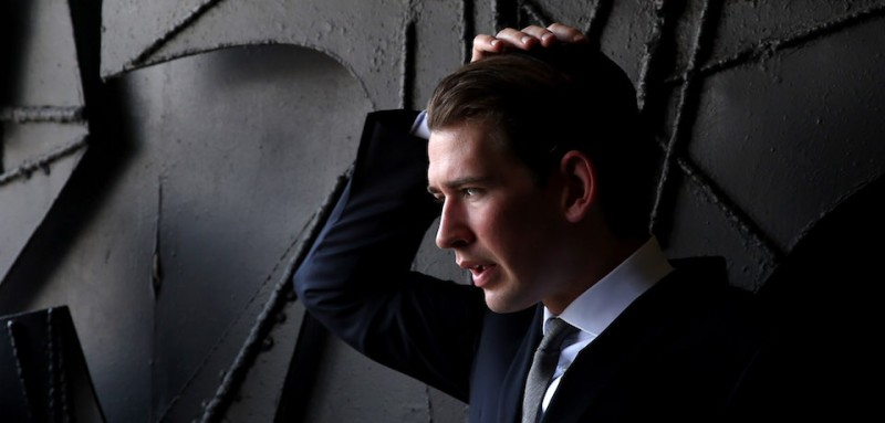 Sebastian Kurz visiting the Yad Vashem Holocaust Memorial museum in Jerusalem during his tenure as foreign minister. (Gali Tibbon/AFP/Getty Images)