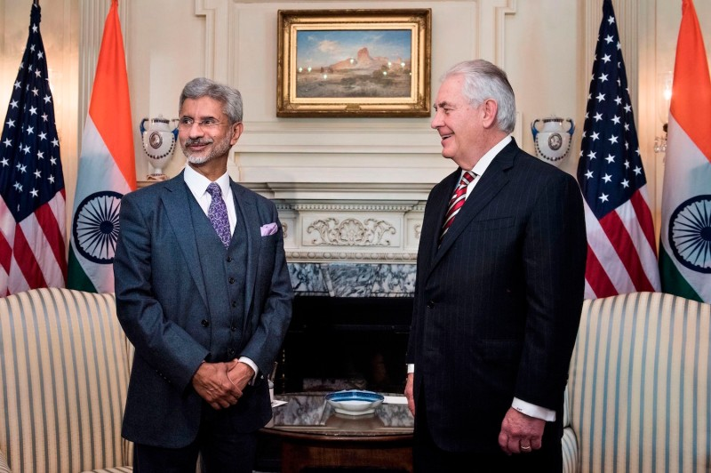 Tillerson and his Indian counterpart, Subrahmanyan Jaishankar, meet in Washington, D.C. in March 2017 (Brendan Smialowski/AFP/Getty Images)