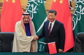 Chinese President Xi Jinping and Saudi Arabia's King Salman in Beijing on March 16. (Lintao Zhang/Pool/Getty Images)