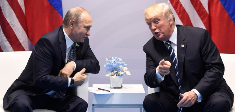 President Donald Trump and Russian President Vladimir Putin during a meeting on the sidelines of the G20 summit in Hamburg, Germany. (Saul Loeb/AFP/Getty Images)