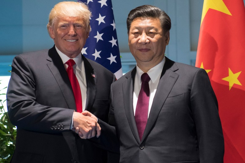 U.S. President Donald Trump and Chinese President Xi Jinping shake hands during the G-20 Summit in Hamburg, Germany, on July 8. (Saul Loeb/AFP/Getty Images)