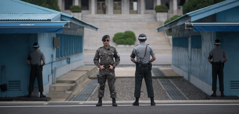 South Korean soldiers stand guard on the demilitarized zone between North and South Korea. (Ed Jones/AFP/Getty Images)