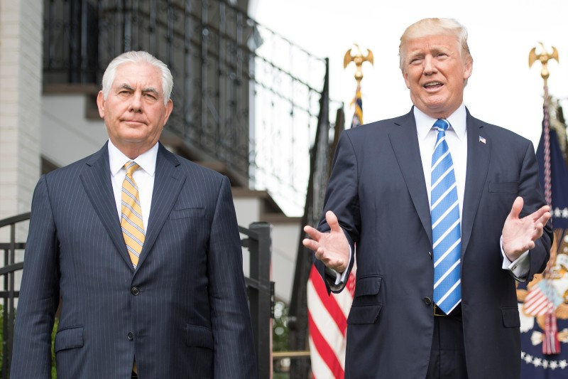 Donald Trump next to US Secretary of State Rex Tillerson on August 11, 2017. (Jim Watson/AFP/Getty)