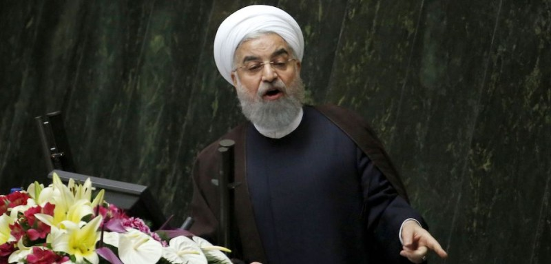 Iranian President Hassan Rouhani addresses the parliament in Tehran on Aug. 15. (Atta Kenare/AFP/Getty Images)